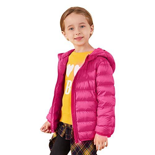 Barakara Baby Jacke, Leicht Wasserfest Winter Mantel Warme Gemütlich Einfarbig Gepolstert Kapuze Daunenjacke für Kinder(1-7 Jahre alt) Beerenfarbe
