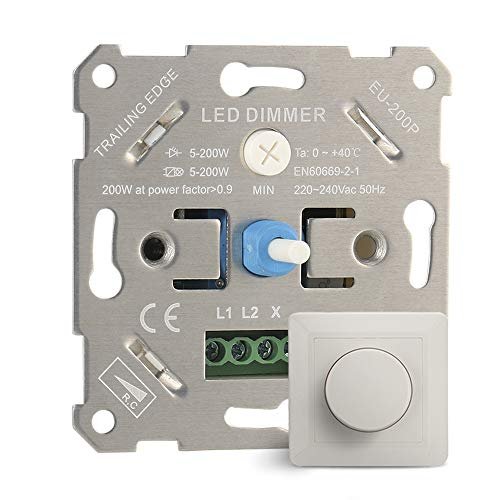Gobesty LED-Dimmer, LED-Dimmer-Schalter Unterputz Dimmschalter Universal Drehdimmer Universal-Dimmschalter 230V für Dimmbare LEDs Led Lampen und Halogen 5-200 W, Weiß