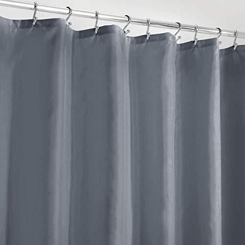 mDesign Duschvorhang Anti-Schimmel – wasserabweisender Vorhang für Dusche & Badewanne – moderner Badewannenvorhang mit zwölf verstärkten Löchern & Gewichten im Saum – blau