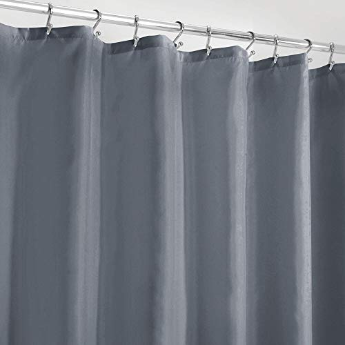 mDesign Water Repellent, Heavy Duty Flat Weave Shower Curtain, Liner - Weighted Bottom Hem for Bathroom Shower and Bathtub, 72' x 72' - Lake Blue