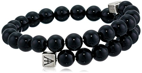 Alex and Ani Men's Beaded Onyx Gemstone Wrap Bracelet, Onyx/Rafaelian Silver, Expandable