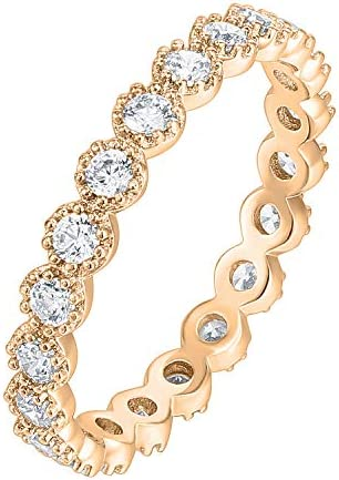PAVOI 14K Rose Gold Plated Rings Cubic Zirconia Band Marquise Milgrain Eternity Bands Rose Gold product image