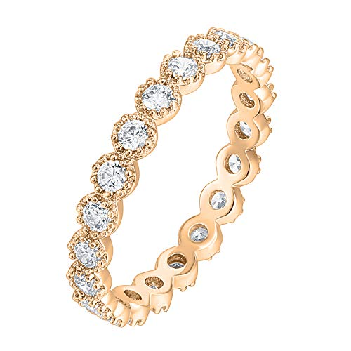 PAVOI 14K Rose Gold Plated Rings Cubic Zirconia Band | Marquise Milgrain Eternity Bands | Rose Gold Rings for Women Size 9