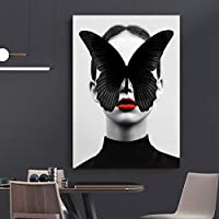 ポートレート写真キャンバス絵画ファッションポスタープリントガールバタフライポスターリビングルームの壁家の装飾70x100cmフレームレス