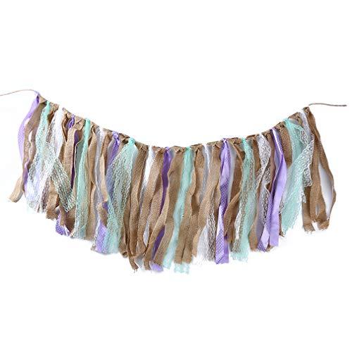 UINKE Lace Banner Rustic Rag Garland Vintage Fabric Banner for Wedding Birthday,Purple
