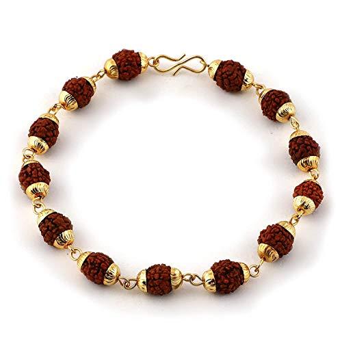 Rudraksha - Pulsera de 5 cuentas Mukhi y tapa de cobre para hombres y mujeres Meditación Japa Oración Pulseras