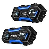 Fodsports 2X FX4 Pro Intercomunicador Casco Moto, Moto Headset para 4 Motoristas, Bluetooth Comunicador para Casco con FM, Motocicleta Interphone con Cancelación de Ruido