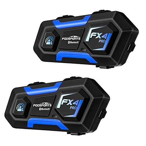 Fodsports FX4 PRO Moto Intercom Bluetooth, 4 Motociclisti Interfono Bluetooth per Moto, Motorbike Motorcycle helmet intercom Headset con FM, 850mAh, con Funzione di riduzione del Rumore (2 pack)