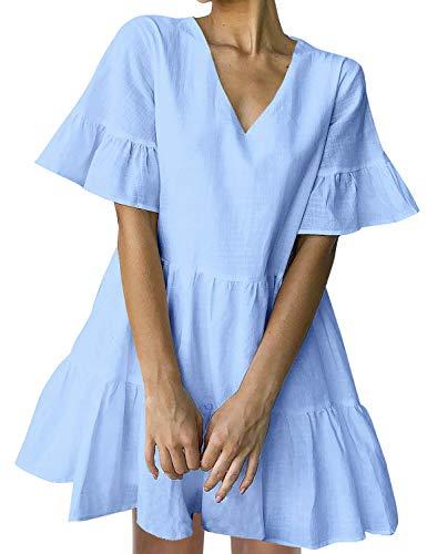FANCYINN Sommerkleid Damen Kurz Tunika Kleid V-Ausschnitt Volant Lockeres Swing Mini Kleider (Hellblau, XL)