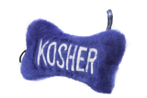 Copa Judaica Chewish Treat 7-Inch Kosher Bone Plush Dog Toy with Squeaker, Large, Blue