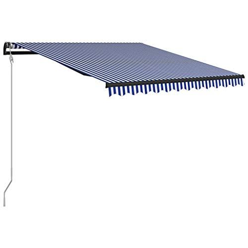 vidaXL Markise Einziehbar mit Windsensor LED Wasserabweisend Balkonmarkise Gelenkarmmarkise Sonnenschutz Terrasse Balkon Aluminium 300x250cm Blau Weiß