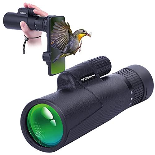 Telescopio Monocular 10-30x42 para Adultos, Telescopio Monocular Resistente al Agua HD con Teléfono Inteligente para Observación de Aves, Senderismo,Caza, Camping, Viajes