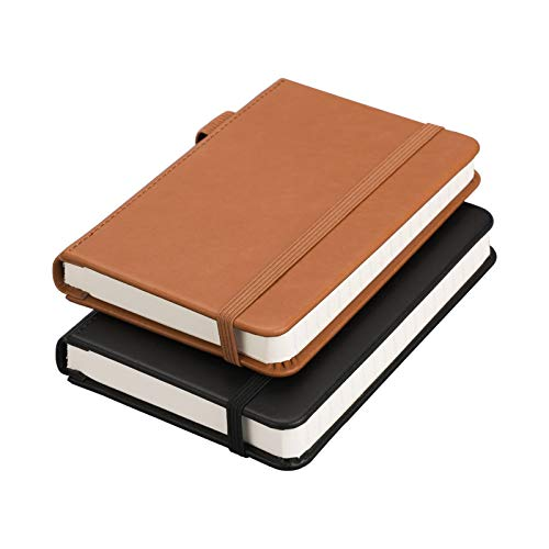 """RETTACY Pocket Notebooks,2-Pack Small Notebook Hardcover Mini Journal with 312 Pages,100gsm Thick Lined Paper with Inner Pockets & Page Numbering,3.5"""" x 5.5"""""""