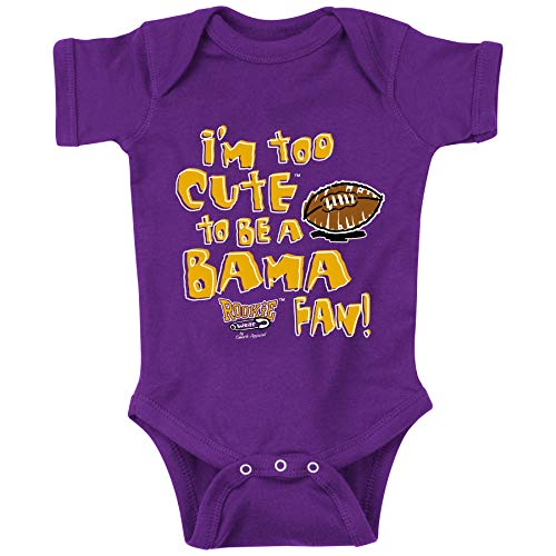 Smack Apparel LSU Football Fans. I'm Too Cute to be a Bama Fan. Purple Onesie (NB-18M) (Onesie, 12 Month)