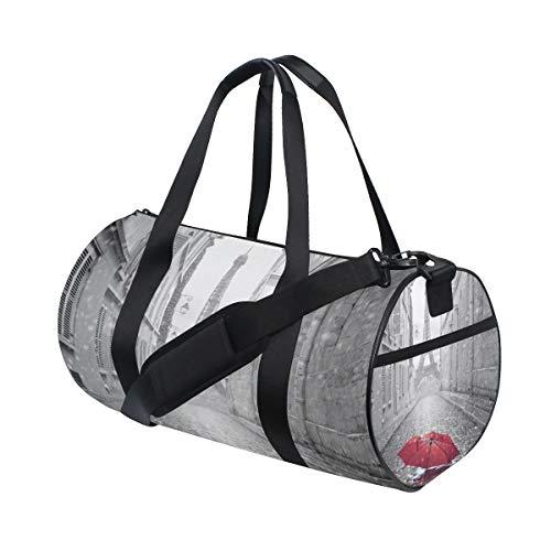 Eslifey Paris Eiffelturm mit rotem Regenschirm in der Straße Fitness Sporttasche Gym Bag Reisetasche für Damen und Herren