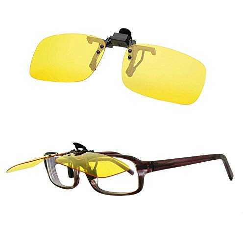Blue Light Filter Computer Night Driving Glasses Yellow Night Vision Polarized Clip-on Flip up Sunglasses