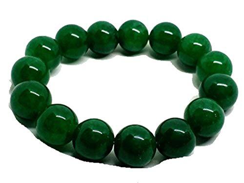 yigedan Pulsera elástica de 12 mm con cuentas verdes para hombre y mujer