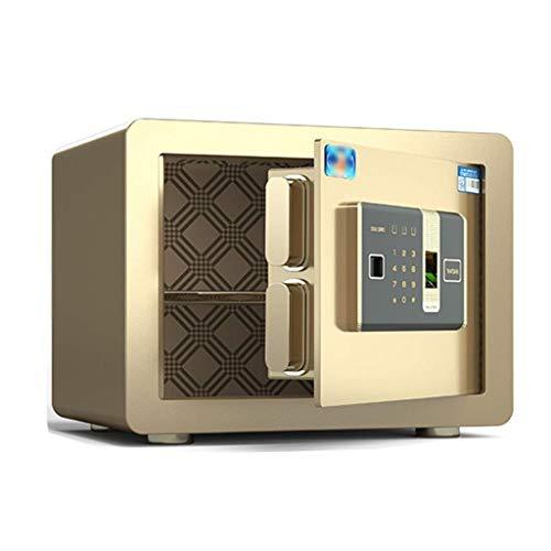 Cajas fuertes para el hogar Gabinete de joyería en efectivo Sistema de alarma inteligente Caja de seguridad de archivos de oficina, Desbloqueo de huella digital + contraseña (Color: Marrón, Tamaño: 35