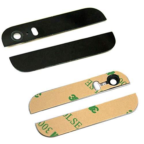MMOBIEL Tapa/Carcasa Trasera Compatible con iPhone 5S / SE (Negro) -la Parte Superior e Inferior de Cristal Negro con Lente de cámara y Flash pre Instalado y Pegatinas Adhesivas 3M