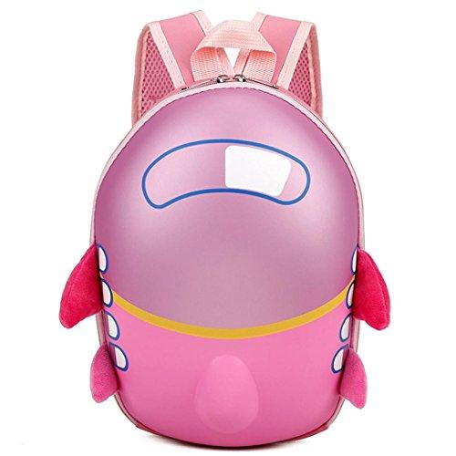 Cinhent Backpacks Boys Kids Baby Girl Cute Airplane Eggshell Cartoon School Bag (Pink)