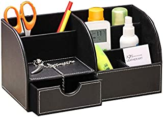 صندوق تخزين متعدد الوظائف من الجلد ، حامل القلم لوازم سطح المكتب صندوق التخزين ، بدون غطاء ، مع درج ، مع (أسود)