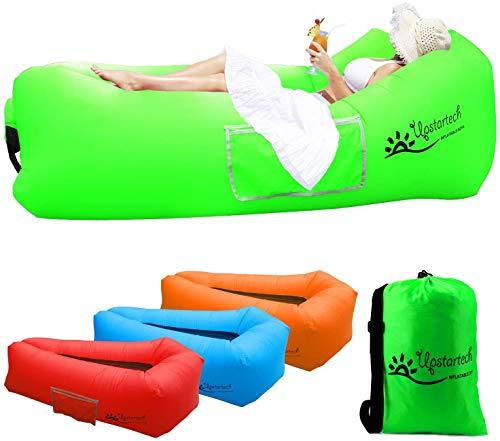 Wasserdichtes Aufblasbares Sofa, Luftsofa Couch, im Freien Tragbare schnelle Aufblasbares Liege Matratze mit reißfestem Gewebe, kompakte Tragetasche, Hängematte perfekt zum Camping, Picknick, Strand