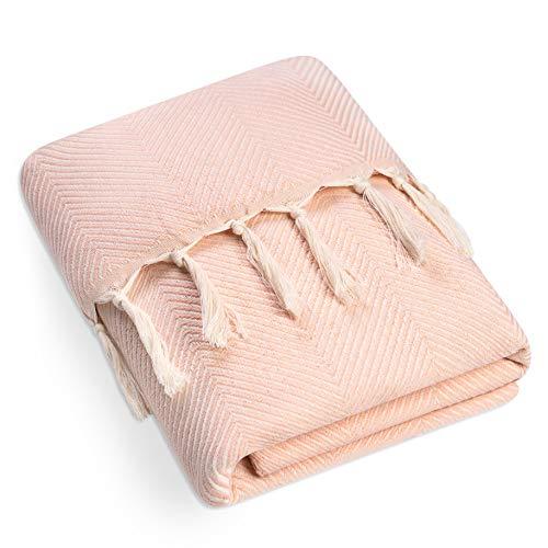 Dreamzie - Wendbare Tagesdecke, 220x240 cm, Lachsfarben - Bettüberwurf, Sofaüberwurf Decke, Gezacktes Muster, 100% Baumwolle schadstofffrei Wohndecke, Überwurfdecke