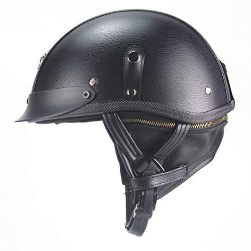 CARACHOME Vintage Motorhelm, Duitse Retro Harley elektrische auto helm voor fiets, Cruiser, Chopper, Bromfiets, ATV, Scooter, Zomer Helm Geschikt voor Volwassen Mannen Vrouwen