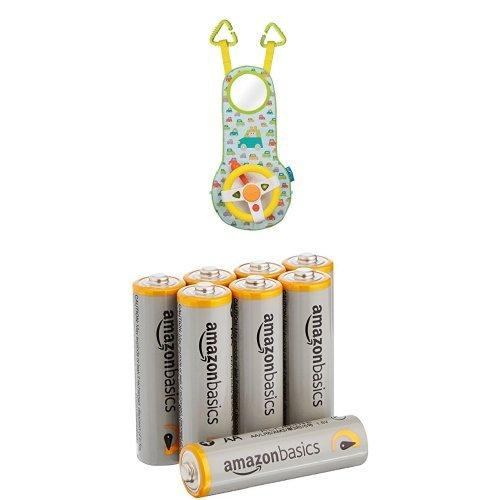 Taf Toys - Accessoire Sièges Auto - Volant de voiture musical + piles AA AmazonBasics