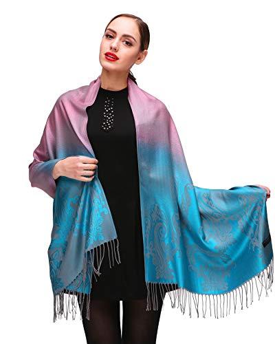 Shmily Girl Shmily Girl Damen Schultertuch Stola - Eleganter Pashmina Schal mit floralem Muster in vielen Farben (One Size, Pink-c095)