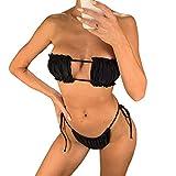 I3CKIZCE Conjunto Bikini para Mujer Push up con Relleno Diseño de Moda Bikini Acolchado Cuadradosin Tirantes Tie Dye Bikini Tanga Brasileño (Negro Puro, S)