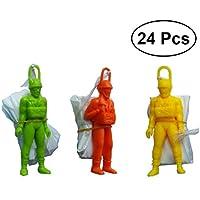 YeahiBaby 24PCS Mini paracaídas para niños Que Lanza el paracaídas de Juguete Niños paracaídas Educativo con la Figura del Soldado (Color y Estilo Surtidos)