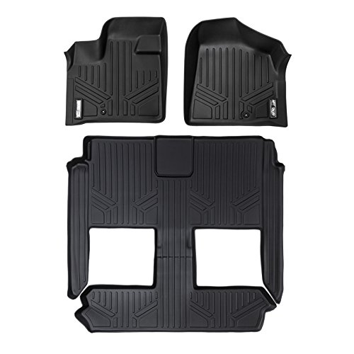 MAXLINER Floor Mats 3 Row Liner Set Black for 2008-2018 Dodge Grand Caravan / Chrysler Town & Country (Stow'n Go Only)
