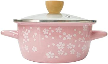 NXYCG Enamel Soup Pot with Lid Household Milk Pot Noodle Pot Binaural Cherry Blossom Powder