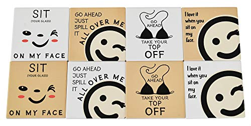 Home-X Funny Drink Coasters Ceramic Cork Coasters Absorbent Coasters for Drinks Novelty Coasters Square Coasters Set of 8 4 L x 4 W x ¼  H White Tan
