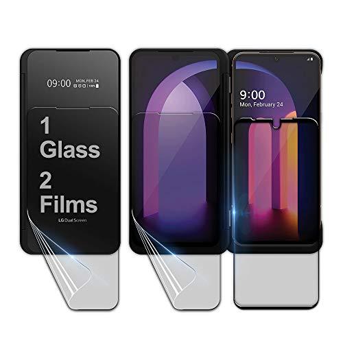 GOBUKEE [1+2] LG V60 ThinQ 5G Panzerglas [1 gehärtetes Panzerglas + 2 Dual Screen TPU Folie Schutzfolie [Ideale Passform Folien für Dual Screen]
