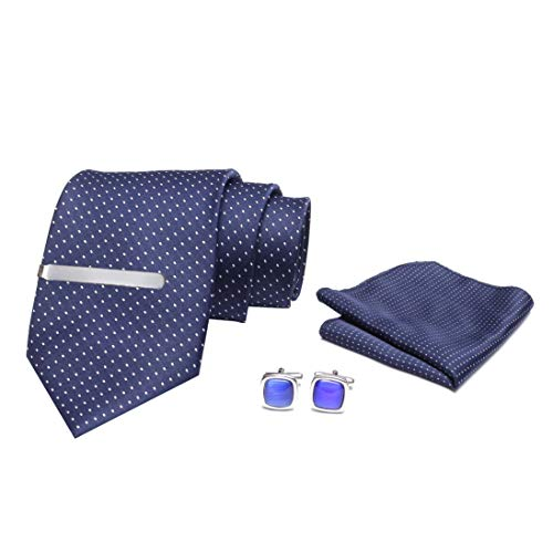 AXLON Men's Necktie with Micro Polyester Silk Clip, Pocket Square and Cuff links for Business Meeting Formal Tie (Blue) Set of 5