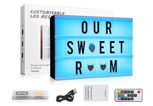 Caja de Luz Cine, A4 LED Cinema Light Letras Box, Cambio de Colore Cinematográfica Box con 120 Letras| Emojis | Símbolos Personaliza tu Propio Mensaje - Control Remoto