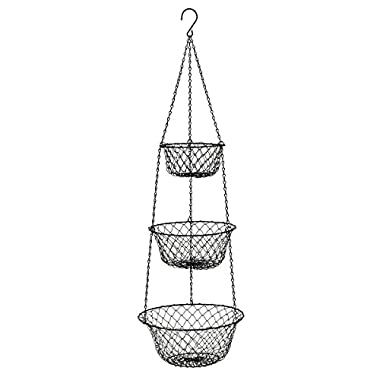 3 Tier Hanging Basket,Storage Fruits Vegetables Organizer for Kitchen Home,Black