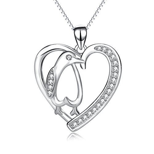 Angel caller Penguin Necklace Sterling Silver Cubic Zirconia Heart Shape Penguin Gifts for Women Girls, 18'