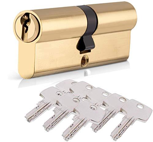 Schließzylinder mit 8 Schlüsseln, HOMEK 30/30 (60mm) Zylinderschloss Profilzylinder Türschloss, Sicherheitsschloss Doppelzylinder Vermessingt