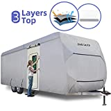 Umbrauto Travel Trailer RV Cover Camper Cover Thick 3 Layers Polypro RV Trailer Cover Anti-UV Top Panel Waterproof Breathable Trailer Covers Ripstop Fits 27' - 30' Travel Trailer