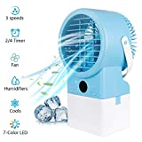 Bligli Portable Air Conditioner Fan, Personal Air Cooler Desktop Table Fan with 7 Colors Light Changing, 3 Fan Speed, Timer, Quiet air Humidifier for Home and Office