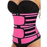 Cinturón de Sudoración para Mujer Corsé Ajustable de Neopreno Abdominal Faja de Vientre Plano Sauna Deporte Soporte de Espalda (Color : Pink, Size : XL)