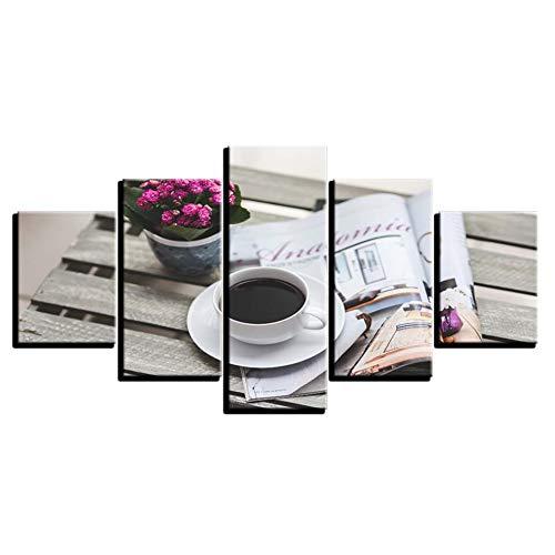 WHFDH canvasfoto kunstwerk 5 stuks koffie bloem en boek schilderij Hd Print muurkunst poster decoratie moderne kamer 30x40 30x60 30x80cm Geen frame.