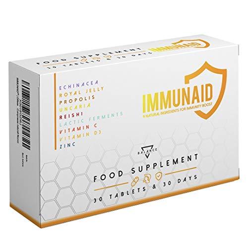 IMMUNAID | Difese Immunitarie | 9 ingredienti per rinforzare Sistema Immunitario tra cui: Echinacea | Pappa Reale | Propoli | Reishi | Fermenti Lattici | Vitamina C | 30 Compresse naturali