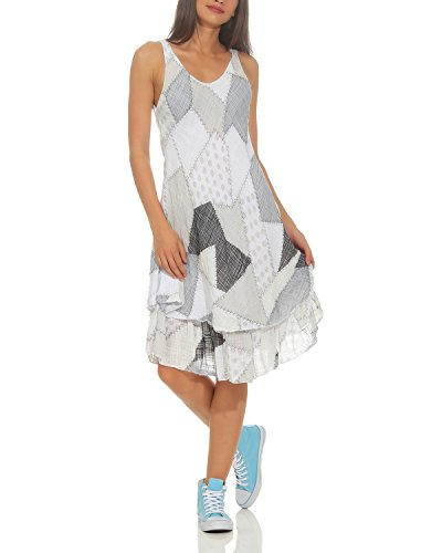 ZARMEXX Damen Sommerkleid Strand Kleid Patchwork-Print Ärmellos doppellagig A-Linie weiß One Size (36-40)