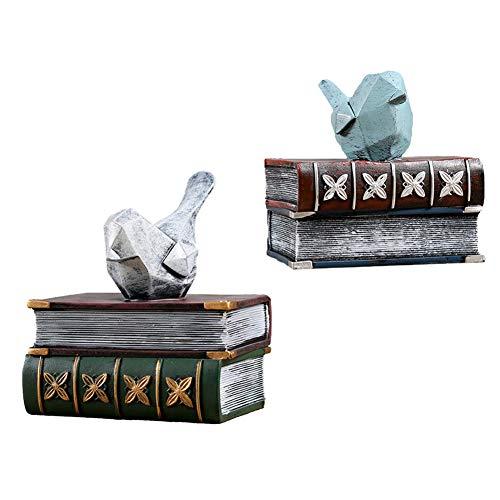 MEVIDA vogels decoratieve boekensteunen, vogel staat op de boeken, beeldjes niet glijden, boekensteunen, kantoor, huis, planken, decoratie, kunst geschenken