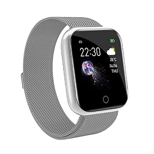 EXEDSCEND Correa de Metal Smart Band, brazalets de Acero Inoxidable Impermeable Elegante Reloj de Negocios, Seguimiento de Fitness Monitor de Ritmo cardíaco para teléfonos Android e iOS,Plata