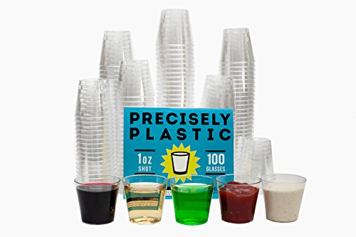 100 Shot Glasses Premium 1oz Clear Plastic Disposable Cups, Perfect Container for Jello Shots,...
